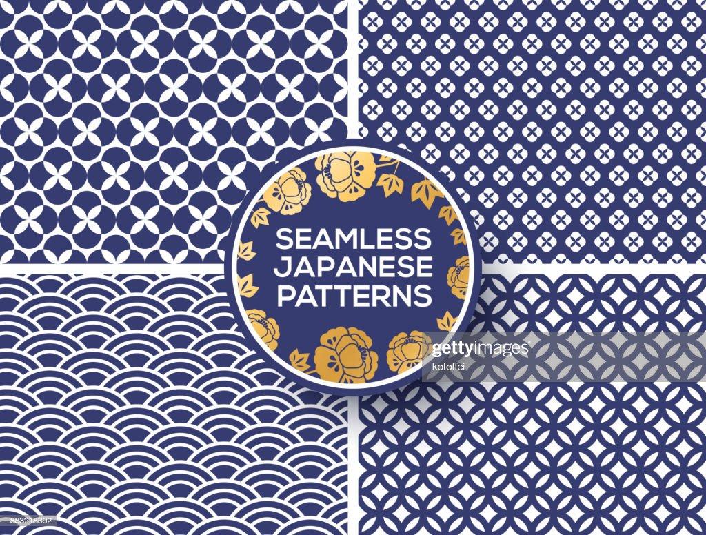 Japanese blue seamless patterns