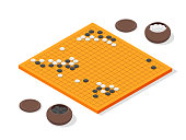 Japanese Board Game Go Concept 3d Isometric View. Vector