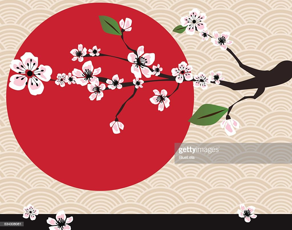 Japanese card with cherry blossom, sakura and traditional Japanese elements