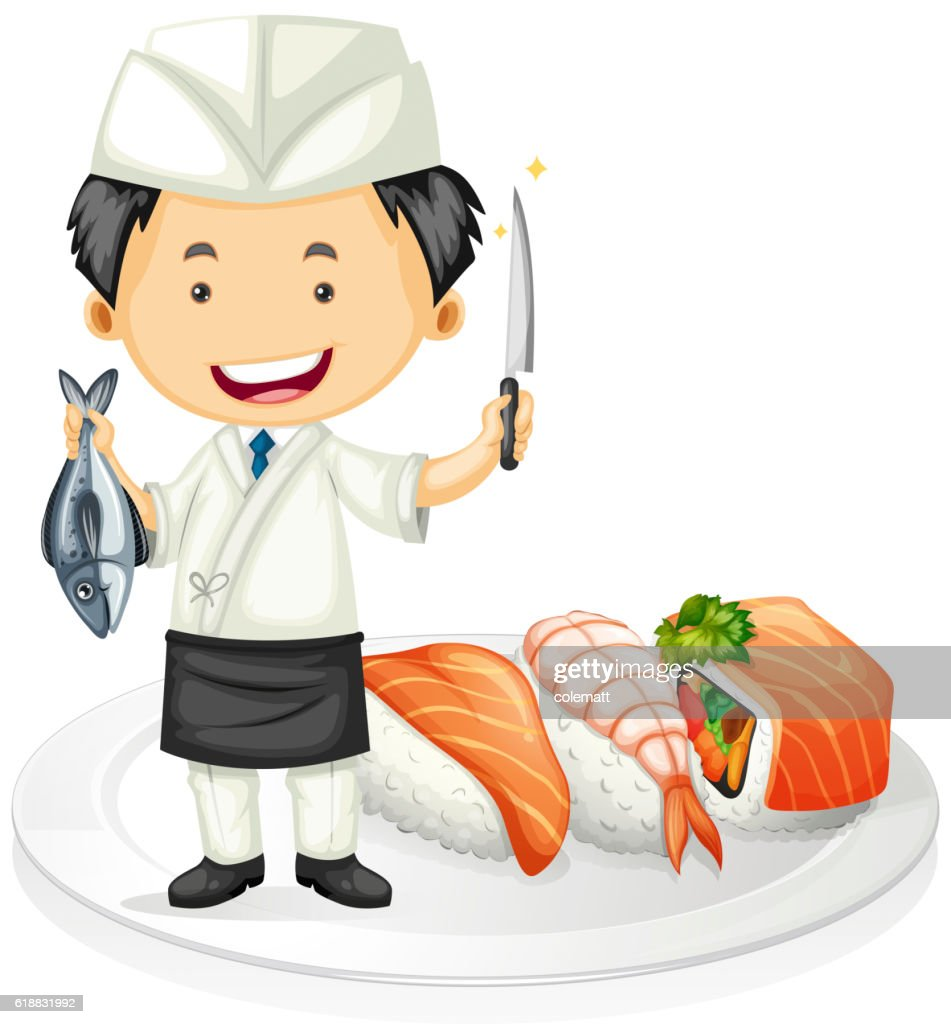 Japanese chef cooking sushi
