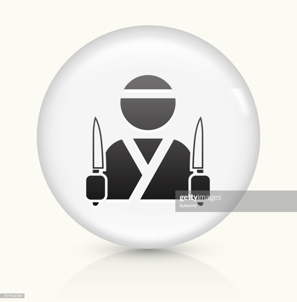 Japanese Chef icon on white round vector button