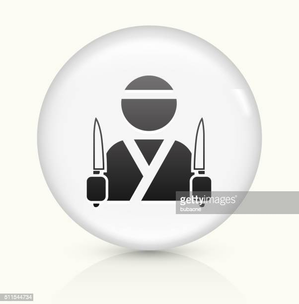 japanese chef icon on white round vector button - only japanese stock illustrations, clip art, cartoons, & icons