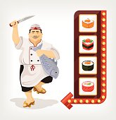 Japanese chef with sushi banner. Vector flat illustration