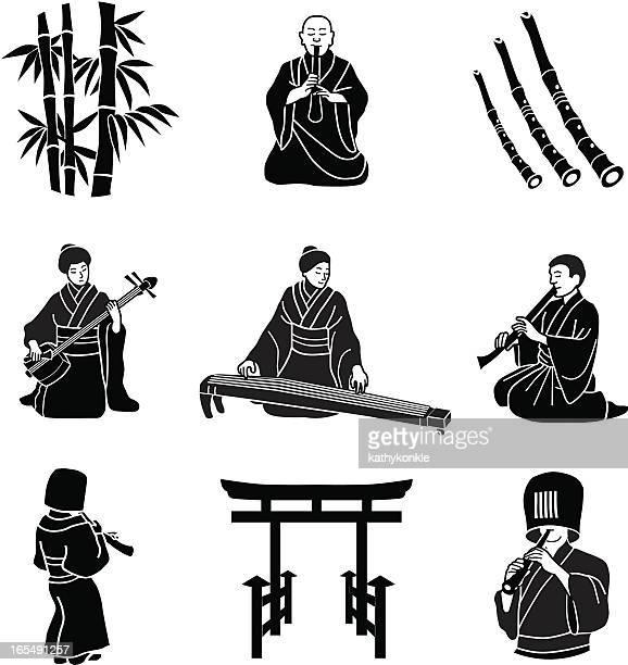 ilustrações de stock, clip art, desenhos animados e ícones de japonês música clássica - vangen