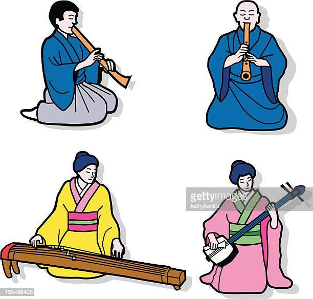 ilustrações de stock, clip art, desenhos animados e ícones de japonês músicos clássica - vangen