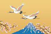 Japanese crane and Mt.Fuji