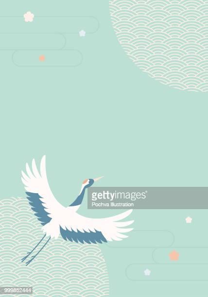 japanese crane background vector illustration - japanese crane stock illustrations