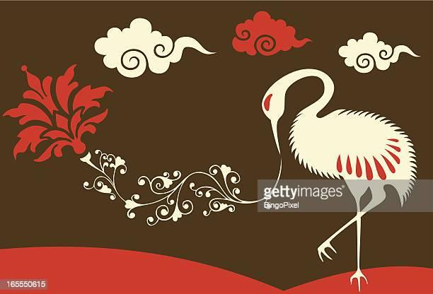 japanese crane, plant & clouds - japanese crane stock illustrations