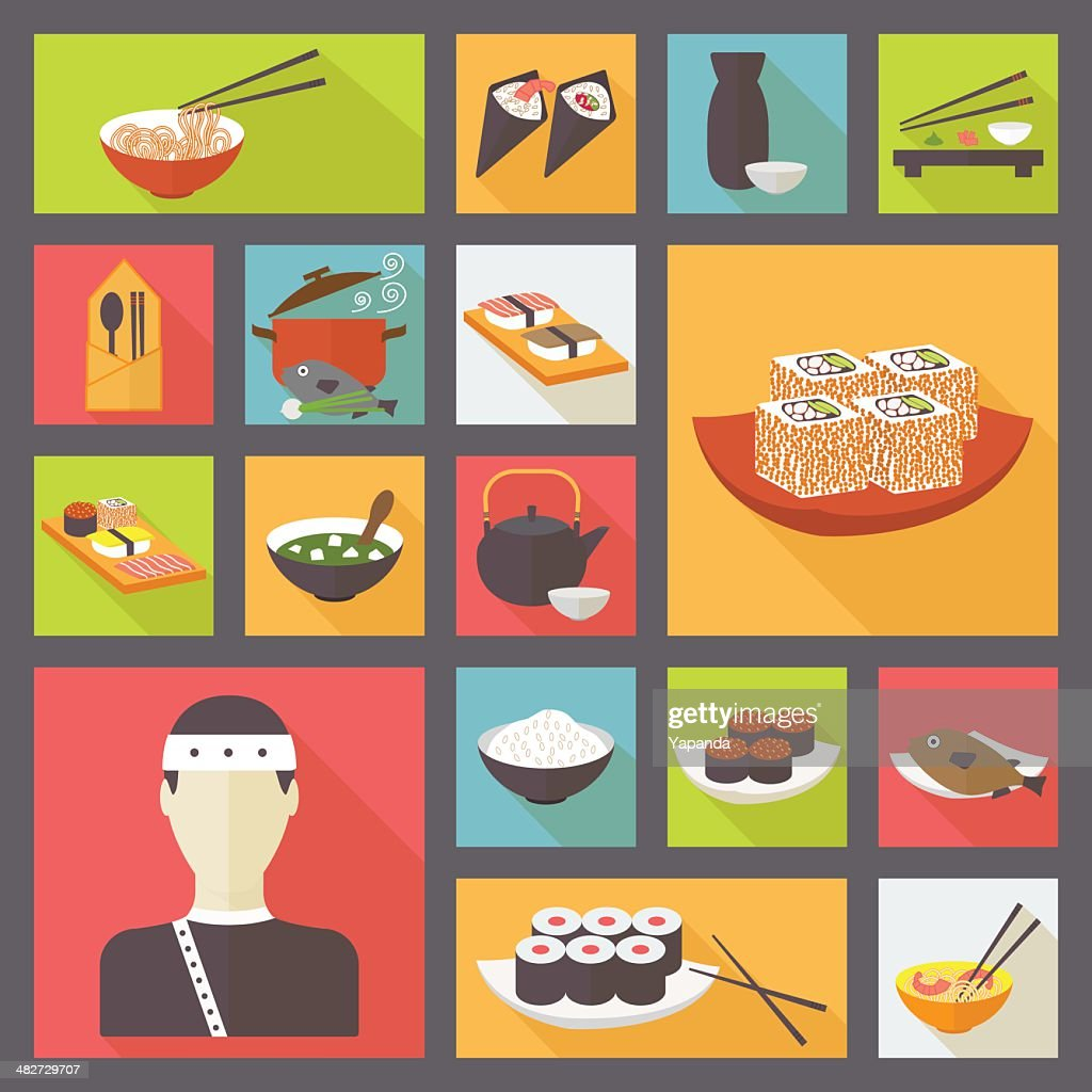 Japanese cuisine, food icons set.
