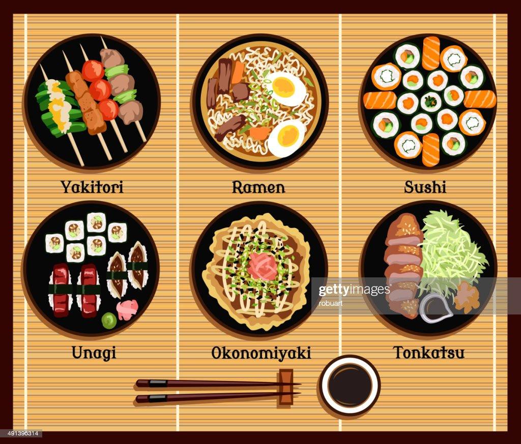 Japanese Cuisine Set Dishes Flat Style