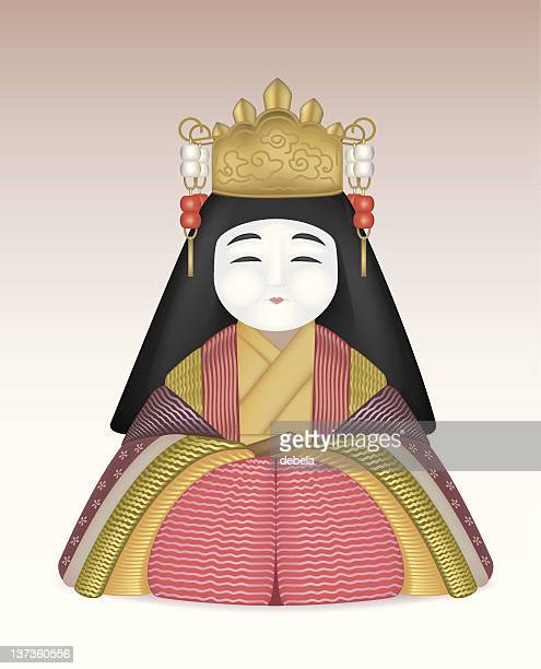 japanese doll - empress stock illustrations, clip art, cartoons, & icons