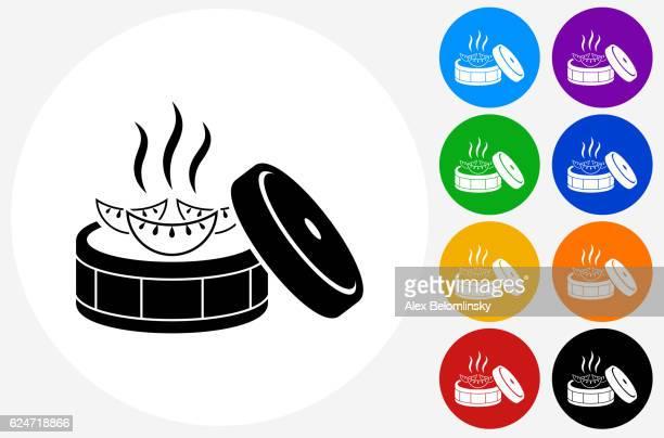 ilustraciones, imágenes clip art, dibujos animados e iconos de stock de japanese dumpling icon on flat color circle buttons - al vapor
