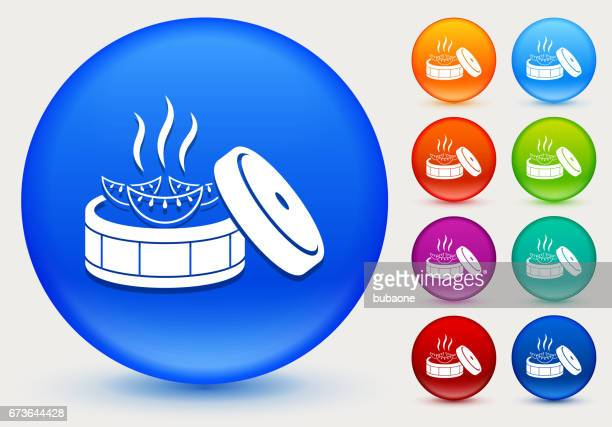 ilustraciones, imágenes clip art, dibujos animados e iconos de stock de icono de bola de masa hervida japonesa botones círculo brillante de color - al vapor