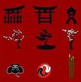 japanese elements asian set