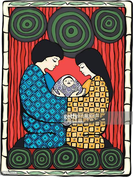 japanese family - japanese mom stock illustrations, clip art, cartoons, & icons
