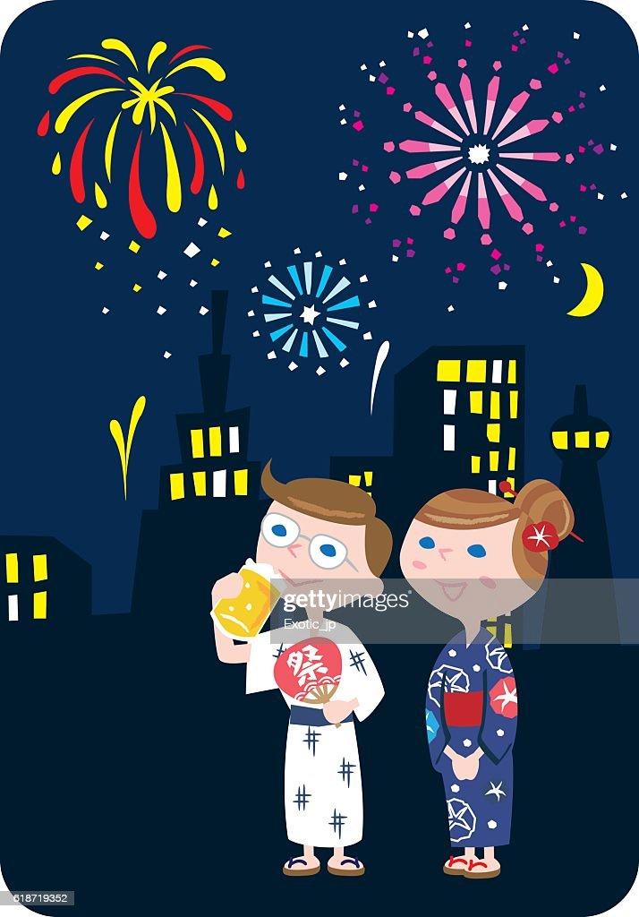 Japanese fireworks vector illustration