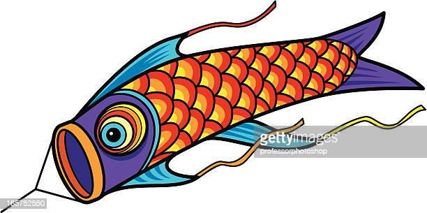 japanese fish kite - kite toy stock illustrations, clip art, cartoons, & icons