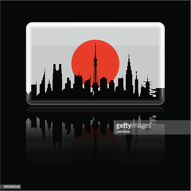 japanese flag on black - tokyo japan stock illustrations, clip art, cartoons, & icons