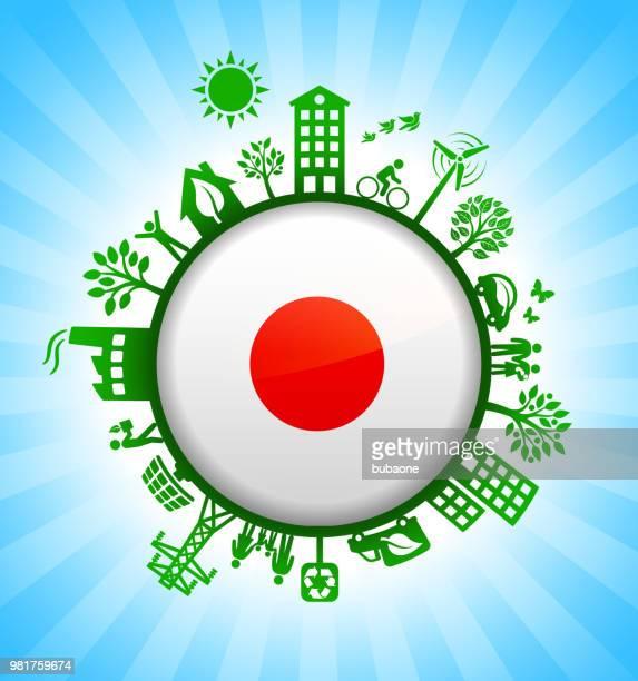 japanese flag on green environmental conservation background - japanese mom stock illustrations, clip art, cartoons, & icons