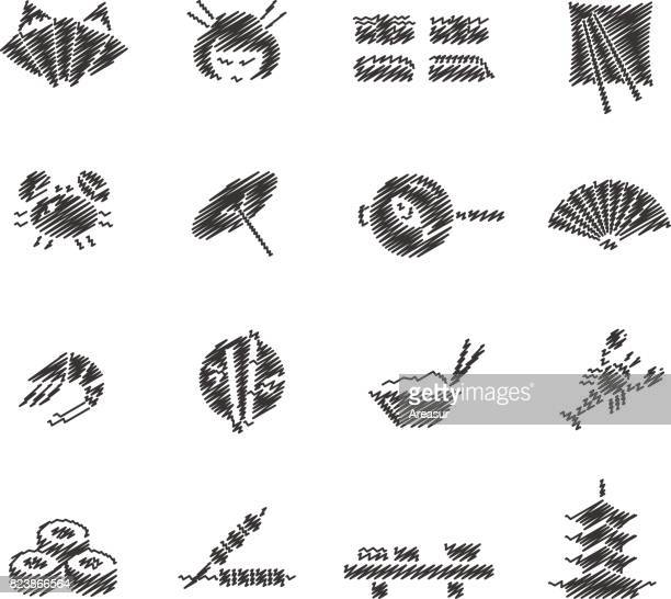 japanese food & culture // scribble series - pagoda stock illustrations, clip art, cartoons, & icons