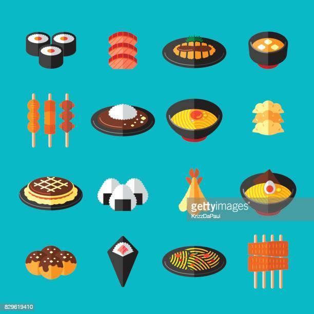 和食フラット アイコン - 食事点のイラスト素材/クリップアート素材/マンガ素材/アイコン素材