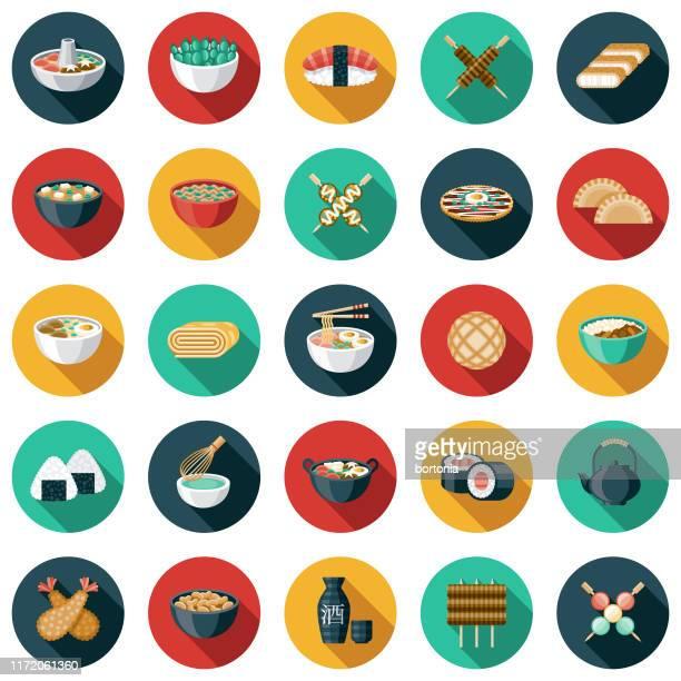 japanese food icon set - asian food stock illustrations