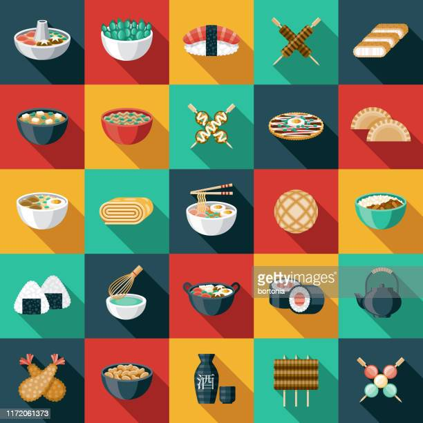 japanese food icon set - long shadow design stock illustrations