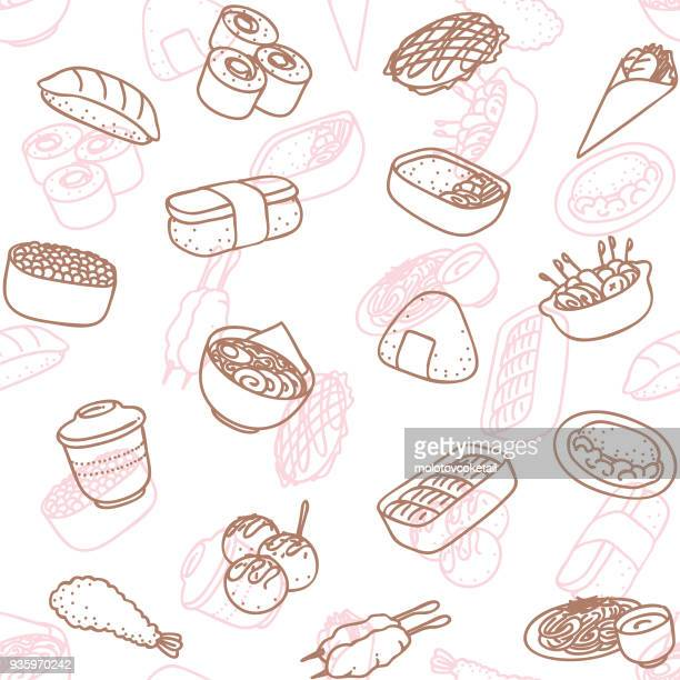 japanese food line art icon seamless wallpaper pattern