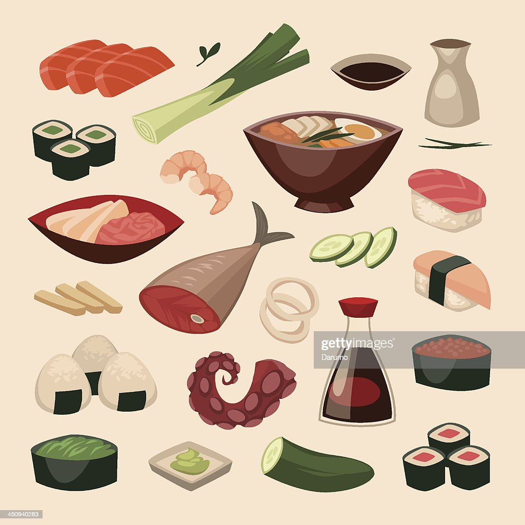 Japanese food. Objects set