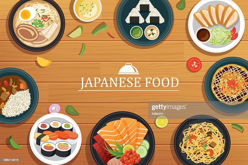 japanese food on a wooden background.Vector japanese food