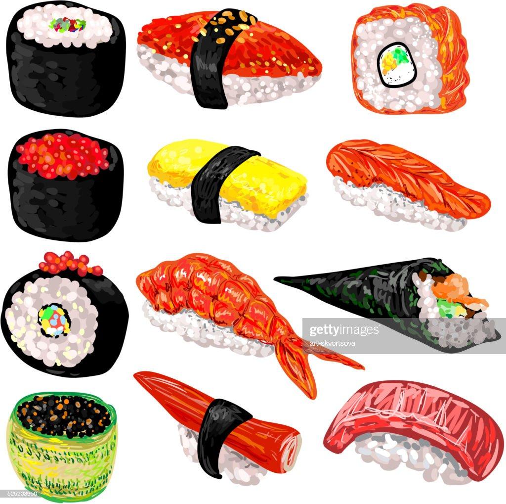 Japanese food sushi and rolls set
