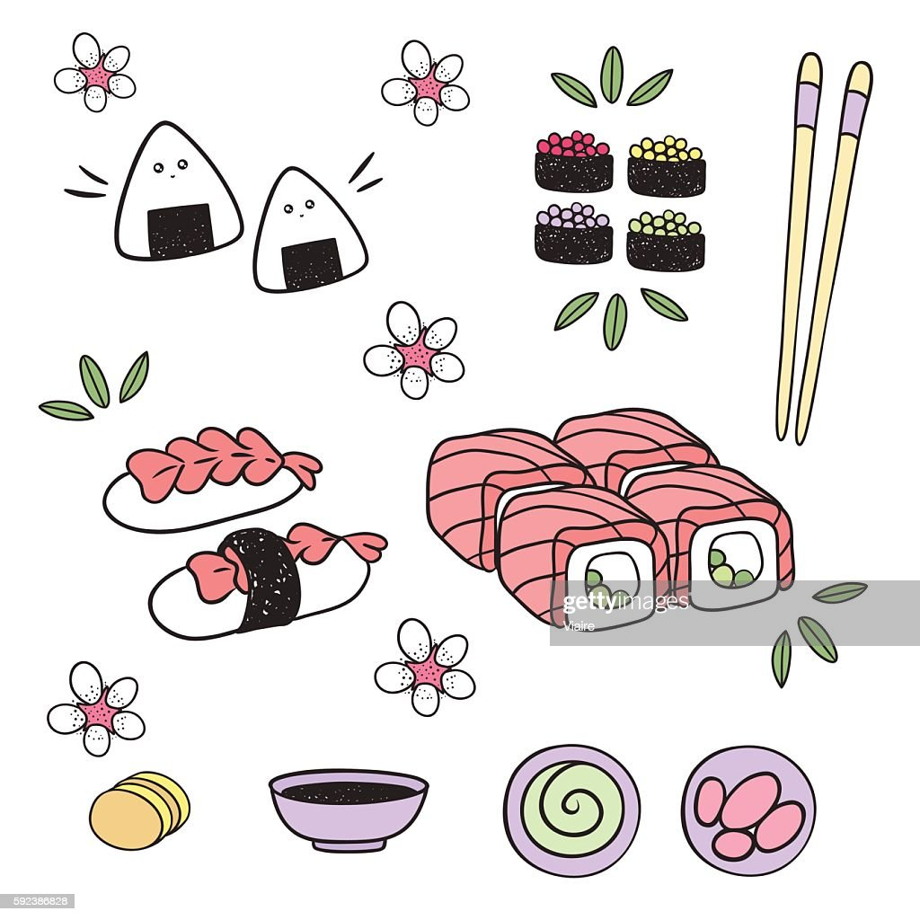 Japanese food: sushi, rolls, onigiri, appetizer, sauce. Elements