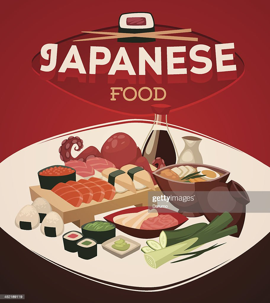 Japanese food. Vector background