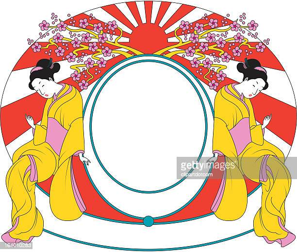 japanese frame with geisha - only japanese stock illustrations, clip art, cartoons, & icons