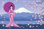 Japanese Geisha in Traditional Kimono Vector Illustration. Mountain Fuji, Sakura Tree Branches and Flowers Scene