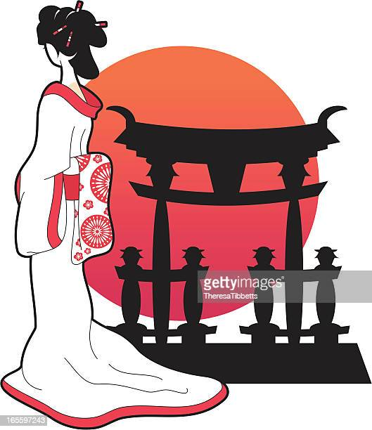 japanese geisha - only japanese stock illustrations, clip art, cartoons, & icons