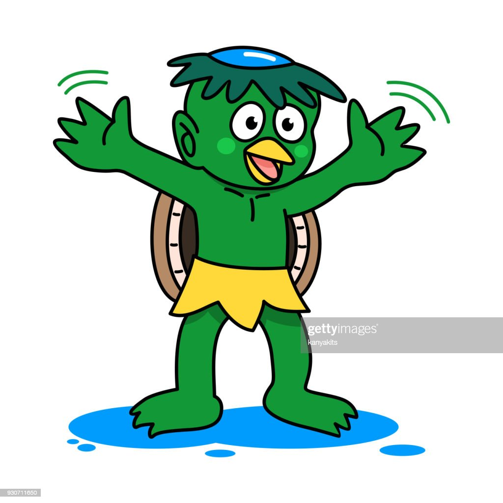 Japanese ghost, Kawataro Kappa or a water imp. Vector Illustration
