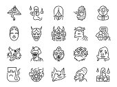 Japanese ghost line icon set. Included icons as spirit, monster, demon, folklore and more.