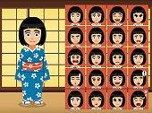 Japanese Girl Cartoon Emotion faces Vector Illustration