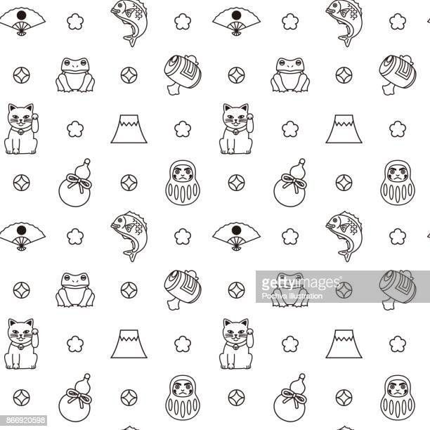 japanese good luck charms seamless pattern - mt. fuji stock illustrations, clip art, cartoons, & icons