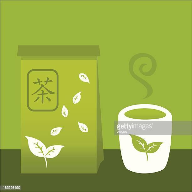 japanese green tea - green tea stock illustrations, clip art, cartoons, & icons
