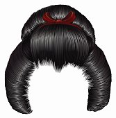 japanese hairstile  with barrette . hairs black brunette colors . women fashion beauty style . realistic 3D .