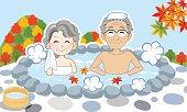 Japanese hot spring in Autumn, Senior couple