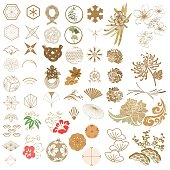 Japanese icon and symbol vector. Gold geometric elements and flower vector.