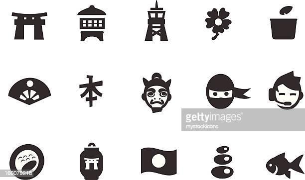 japanese icon set - japanese language stock illustrations, clip art, cartoons, & icons