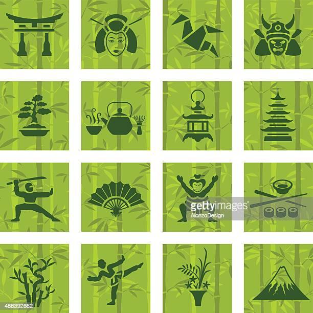 ilustrações, clipart, desenhos animados e ícones de conjunto de ícones do japão - mt. fuji