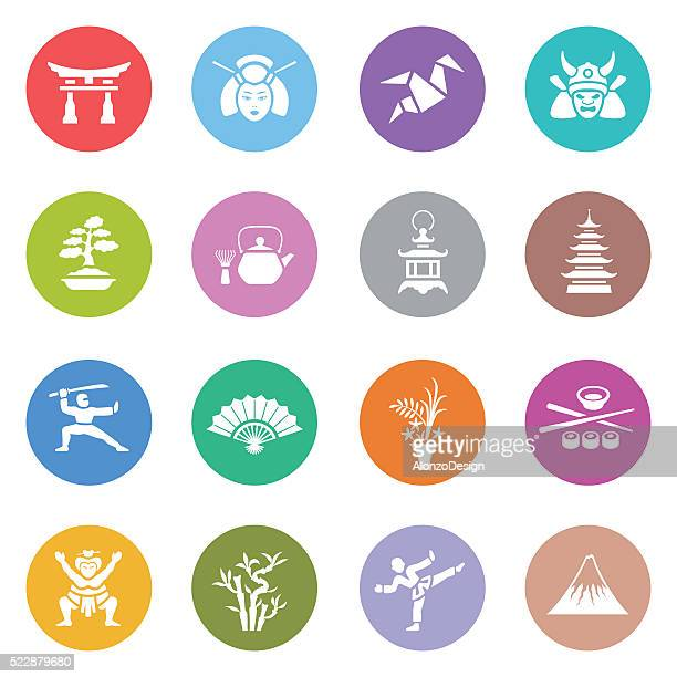 japanese icon set - mt. fuji stock illustrations, clip art, cartoons, & icons