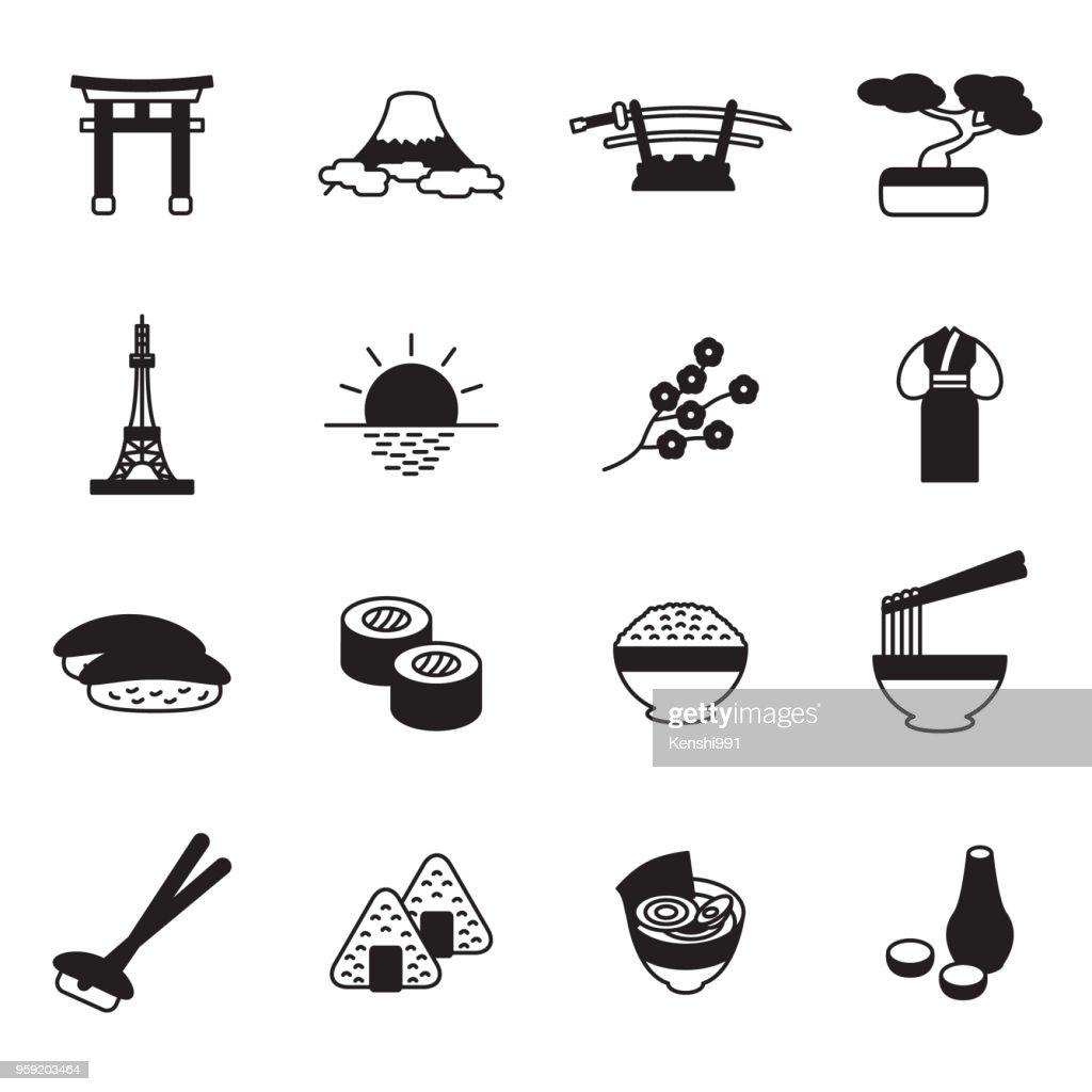Japanese icon set. Vector.
