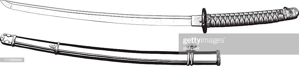 Japanese katana and scabbard
