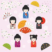Japanese kokeshi dolls background